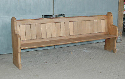 A Lovely Antique Oak Pew With One Carved End Gothic Style C.1910 Ref 865