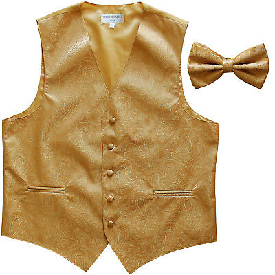 New Polyester Men's Tuxedo Vest Waistcoat & Bow tie Paisley Pattern Gold formal