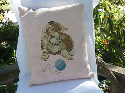 Vintage Pink Needlepoint Calico Kitty Cat Pillow Ball Yarn Blue Eyes Handmade