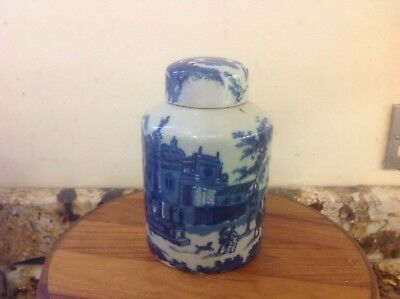 Unusual Stunning Italian style Blue white Ginger Jar with lid