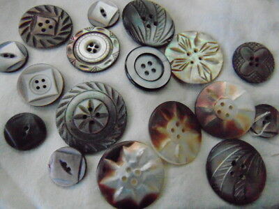 Seventeen Etched or Carved Mother of Pearl Buttons