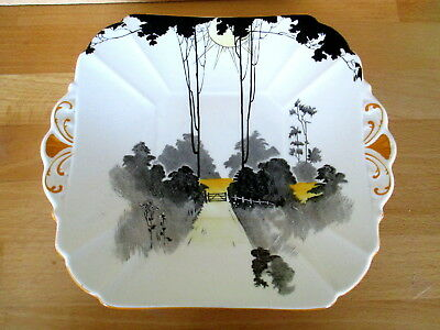 Art Deco / Vintage China Bread / Cake Plate.Shelley Queen Anne.Tall Trees.11678