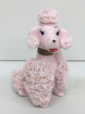 """Vintage Pink Spaghetti Glass 3-3/4""""Poodle with Shaker Holes in Back of Head"""