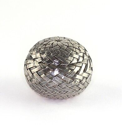 Vintage Sterling Silver Taxco Mexico RARE Spherical Woven Basket Pill Box
