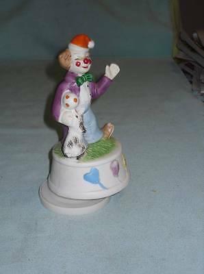 Vintage Hand Painted Porcelain Clown With Puppy Music Box Beautiful Blue Danube