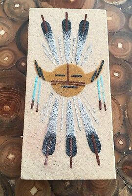 Native American Indian Navajo Artist Sand Painting on Wood Signed B. Begay
