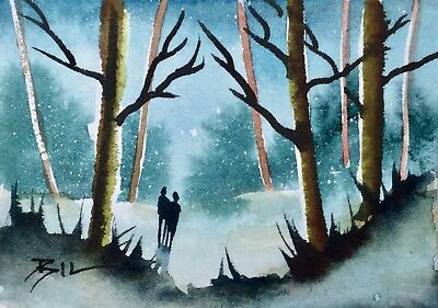 ACEO Original Art Watercolour Painting by Bill Lupton  - Woodland