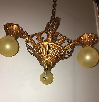 CLASSIC Original Antique 1930s Virden 3 Light Fixture! 23C