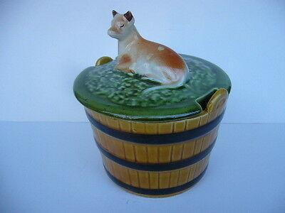 ANTIQUE BUTTER TUB CERAMIC DECORATIVE WITH COW from Portugal ~ Very Unusual