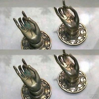 """4 silver used handle hand solid brass door old style knob hook 2.1/4 """"buddha B"""