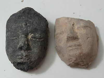 Antique Mongolian Tibetan Buddhist Clay Tsa Tsa  Fragment Buddha Face