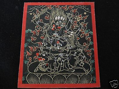 Antique  Mongolian Buddhist Black Thangka Painting