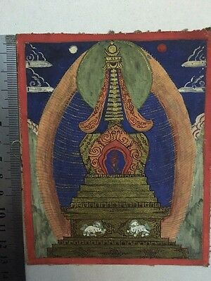 Antique  Mongolian Tibetan  Buddhist Thangka Painting Of A Stupa