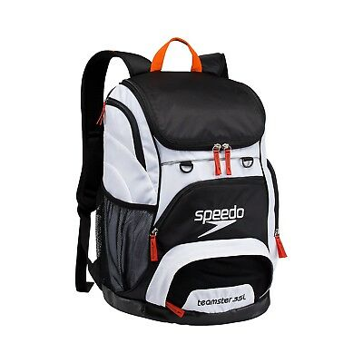 Speedo Large Teamster Backpack Swim Bag 35 L Liter BLACK WHITE New with Tags