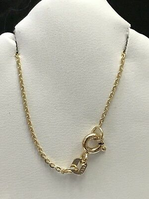 14k Solid Yellow Gold Rolo Anchor chain Necklace 16-18 inches Brand New 1mm