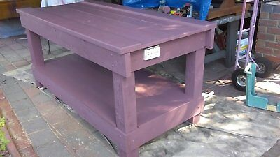 Timber workbench, wooden work table man cave operations bench