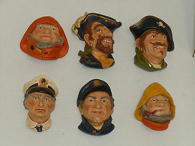 Vintage Chalkware Heads Lot Of (6) Pirate Sailor Fisherman Etc Very Nice