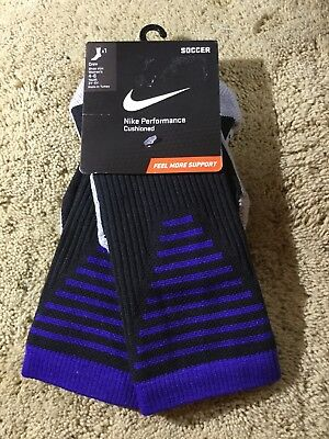 60225e4c5942 Nike Performance Cushioned Crew Soccer Socks Style SX5345-013 SIZE S (4-6
