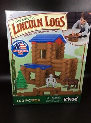 New Knex Lincoln Logs Grand Pine Lodge 103 Piece Set Building Toys