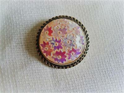Vintage White With Iridescent Flowers Molded Glass Scarf Ring Clip Gold Tone