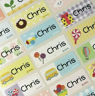 48 Medium Happy Color Personalized Waterproof Name Label Stickers Kids School