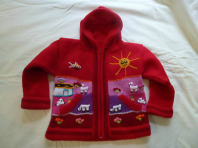 Child's Knitted Alpaca Hooded Zipper Jumpers