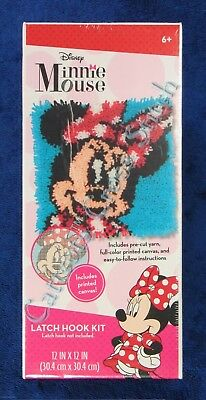 """Latch Hook Kit Disney Minnie Mouse 12"""" x 12"""" Dimensions Printed Canvas"""