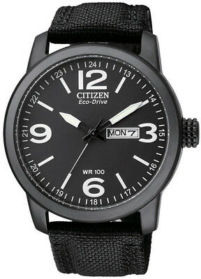 Citizen Eco-Drive Stainless Steel Nylon Strap Mens 100m Sports Watch BM8475-34E