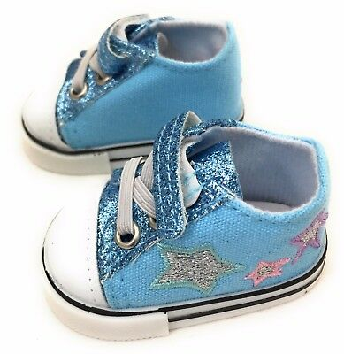 """Lt Blue Glitter & Stars Tennis Shoes Sneakers for 18"""" American Girl Doll Clothes"""