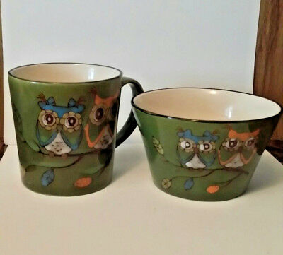 Owl CoffeeMug and Matching Cereal Bowl~Household~Kitchen