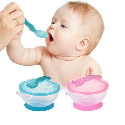 Baby Suction Cup Feeding Bowl Slip-resistant Tableware Temperature Sensing Spoon