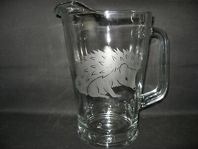 New Etched Hedgehog Glass Water Beer Iced Tea Sangria Pitcher
