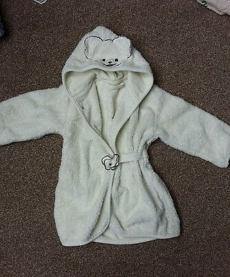 Baby teddy bear hooded dressing gown in cream eu size 80/92 age 12 - 24 months