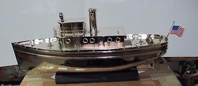 Buddy L T Repro-Nickel Plated Tug Boat  1 Of 15