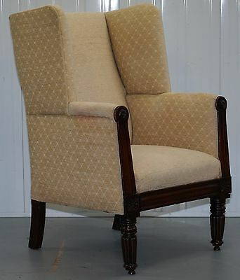 Rare Circa 1790 Gillows Style Porters Chair Mahogany Framed Wingback Rare Find