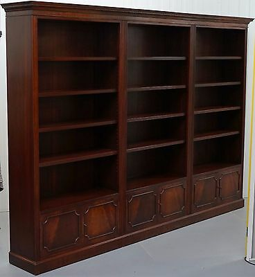 Rrp £8892 Brights Of Nettlebed Triple Sectional Solid Mahogany Library Bookcase