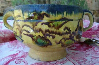 Rare Antique Alsace France Earthenware Bowl ~ Two Handles & Footed Base