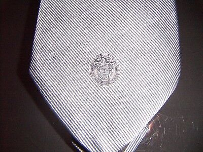 Tie GIANNI VERSACE cravatta grigia grey Medusa 100% Silk Made in italy