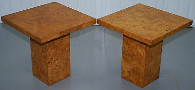 Pair Of Lovely Art Deco Style Burr Walnut Veneer Lamp Side End Tables Patina!!!!