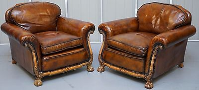 Pair Of Circa 1910 Satinwood Claw & Ball Feet Hand Dyed Leather Club Armchairs