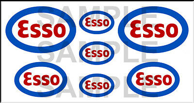 1 1/2 3/4 Inch Esso Gasoline Model Gas Station Building Sign Decals Stickers