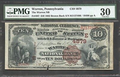 1882 $10 Warren, Pennsylvania National Bank Note Brown Back PMG VF30