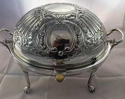 Antique English Silverplate Hand Engraved Oval Revolving Cover Entree Dish