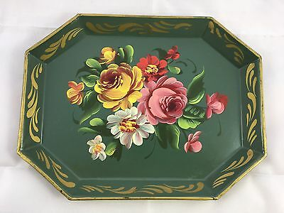 Antique Tole Toleware Metal Hand Painted Floral Flower Small Octagon Mini Tray
