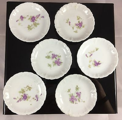 Antique Porcelain England France Delicate Scalloped Purple Flower Butter Pat S/6