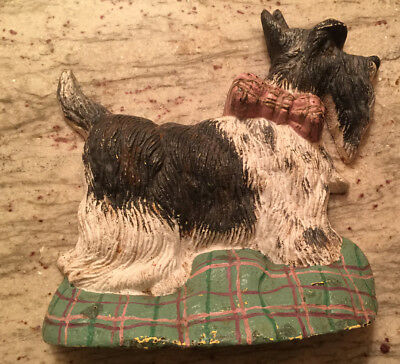Vintage Black Cast Iron Metal Scottish Terrier Scotty Dog Statue