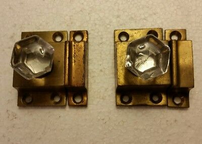 Pair of antique brass cabinet latches glass knobs (2026A)