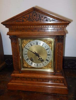 winterhalder & hoffmeir oak cased ting tang bracket clock c1900s