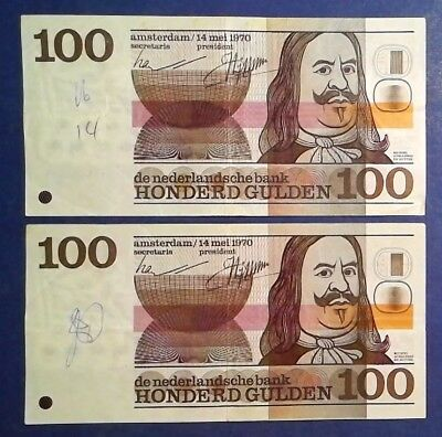 NETHERLANDS: 2 x 100 Gulden Banknotes (1970)  - Very Fine Condition