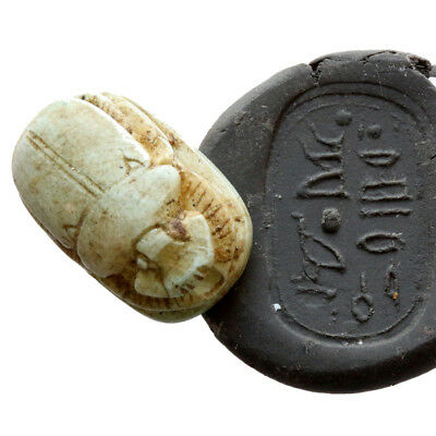 Museum Quality Circa 900 Bc Glazed Pendant Bead Seal Scarab